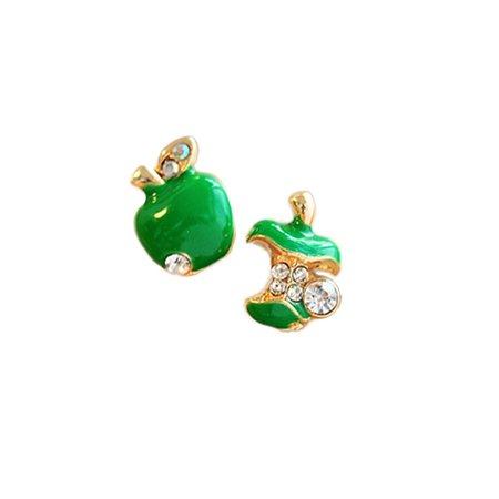 Apple Rhinestones Girls Fashion Stud Earrings, 2 Colors (Green)