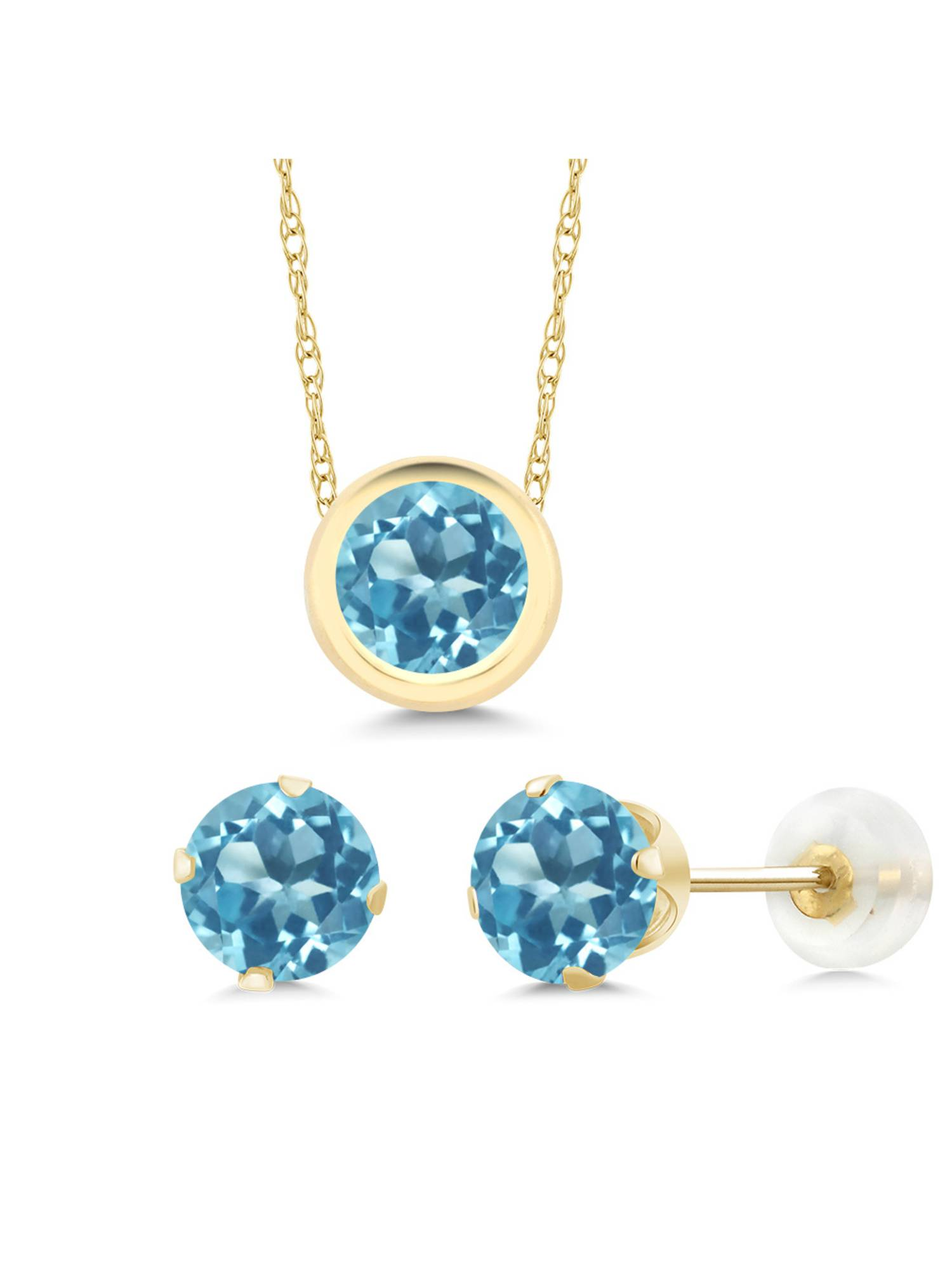 2.70 Ct Round Swiss Blue Topaz 14K Yellow Gold Pendant Earrings Set by