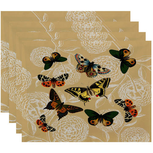 "Simply Daisy 18"" x 14"" Antique Butterflies and Flowers Animal Print Placemat"