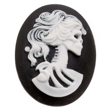 (Lucite Oval Cameo - Black With White Lolita Skeleton 40x30mm (1 Piece))