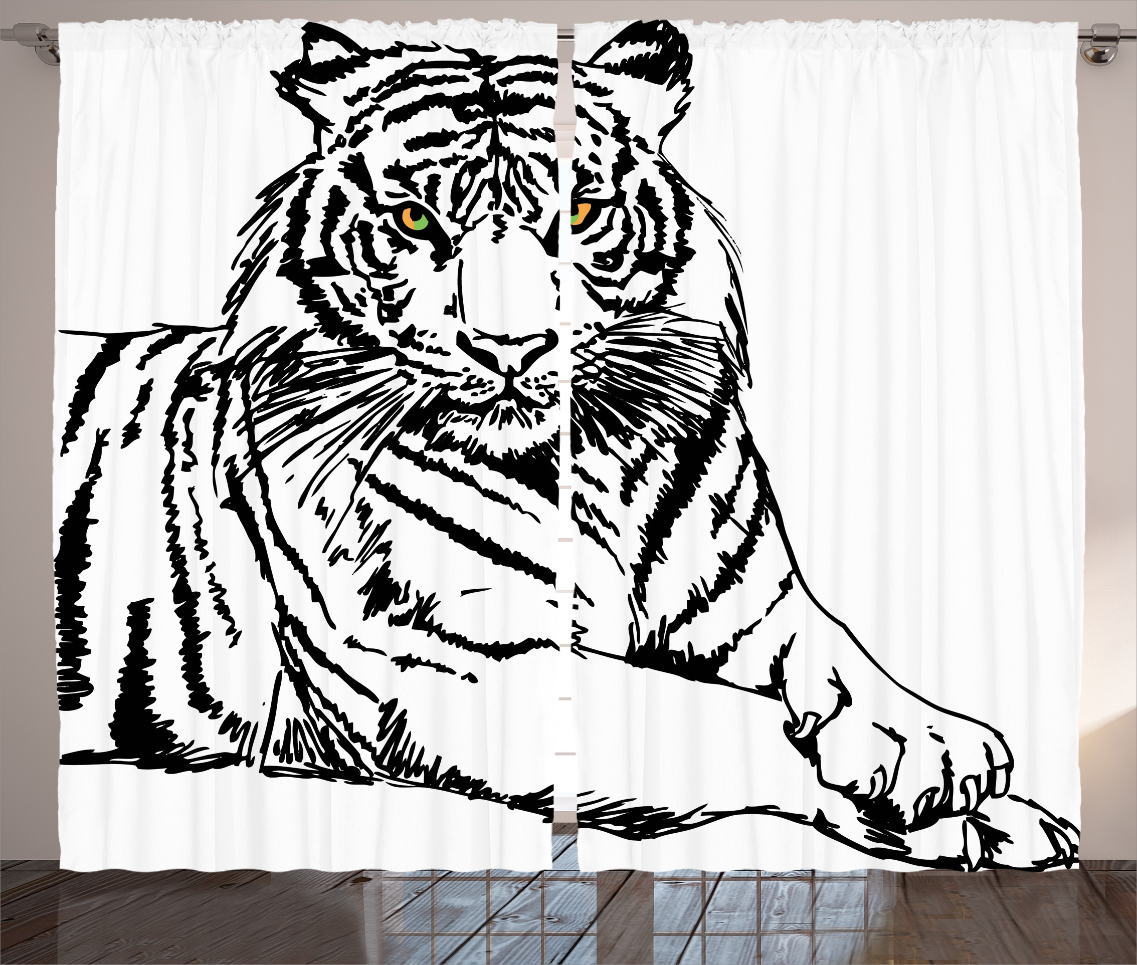 Animal Print Curtains 2 Panels Set, Sketch Of A Posing Tiger Bright Eyes  Largest Cat
