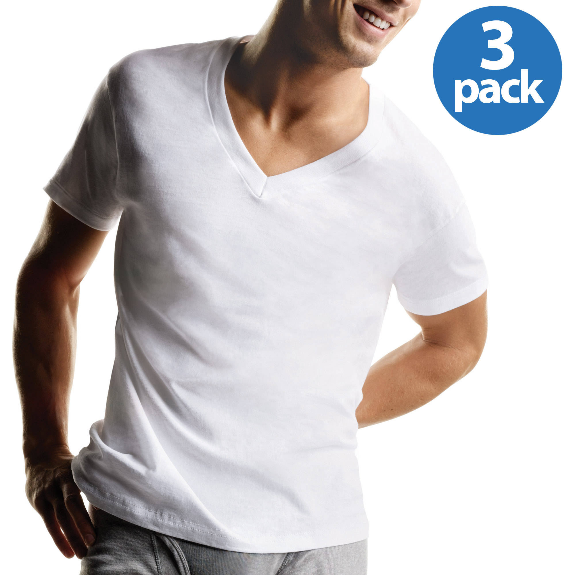 Hanes Men's ComfortSoft White V-Neck T-Shirt 3-Pack