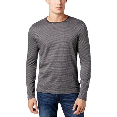 Michael Kors Mens LS Stripe Basic T-Shirt, Grey, Medium ()