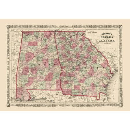 Map Of Georgia Alabama.Old State Map Georgia Alabama Johnson 1864 23 X 32 33
