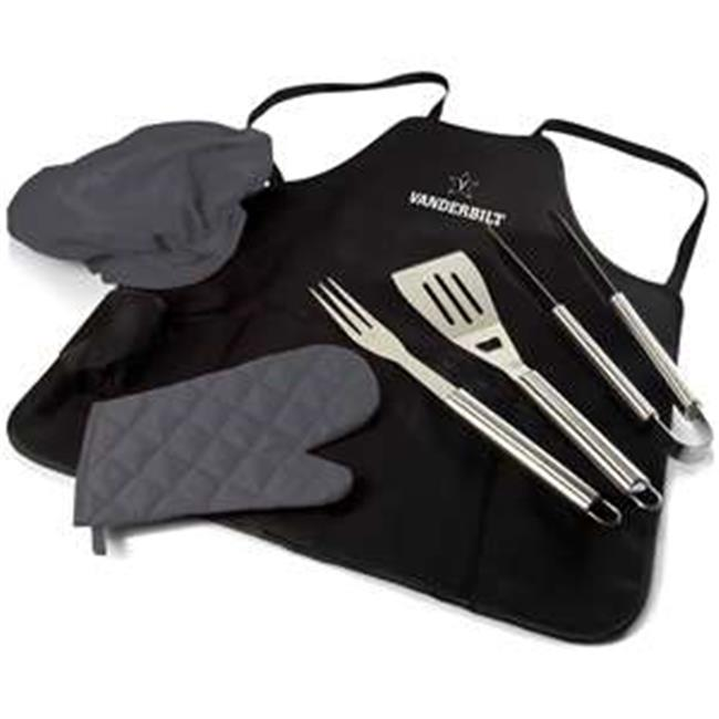 Vanderbilt University Commodores Digital Print BBQ Apron Grill Tool Set Tote Pro Bag, Black