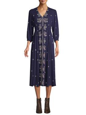 Scoop Blouson Sleeve Midi Dress Paisley Print Women's