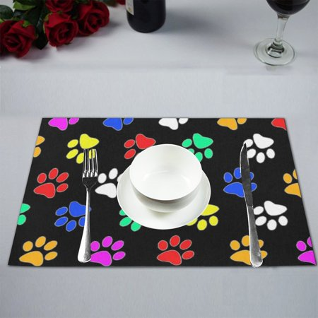 MYPOP Dog Paw Table Placemat Food Mat 12x18 Inches (Good Dog Placemat)