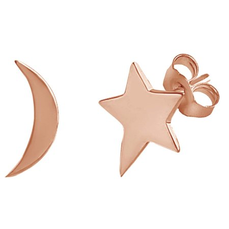 Crescent Moon & Star Mismatched Stud Earrings 14K Rose Gold Over Sterling Silver