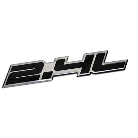 2.4L Liter Embossed BLACK on Highly Polished Silver Real Aluminum Auto Emblem Badge Nameplate for Honda Accord Civic Acura Toyota Camry Scion Optima Nissan Altima Frontier Porsche SUV Sport Utility