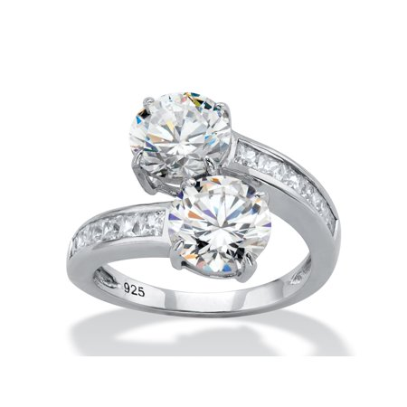 Round Cubic Zirconia and Baguette Accent 2-Stone Bypass Cocktail Ring 4.96 TCW in Sterling Silver