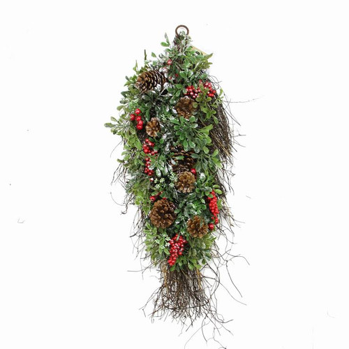 Northlight Seasonal Glittered Artificial Boxwood Pine Cone and Berry Christmas Teardrop Swag with Unlit
