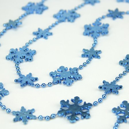 Shiny Metallic Blue Snowflake Beaded Christmas Garland 8' x 1.25