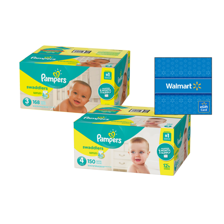 Diaper Supply ([Save $20] Size 3 & Size 4 Pampers Swaddlers Diapers, One Month Supply Packs (Total 318 Diapers) + Free $20 Gift Card )