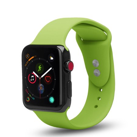Apple Watch Replacement Bands 42mm w/Full Body Clear Hard Case Screen Protector, Soft Silicone Wristband for iWatch Apple Watch Series 1/2/3/Nike+ - green - image 2 de 4