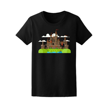 Female Medieval Clothing (Medieval Castle With Clouds Tee Women's -Image by)