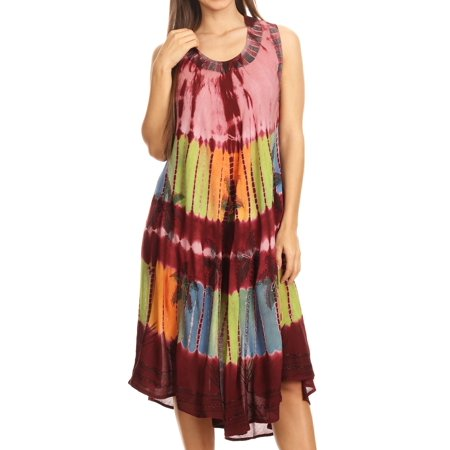 Sakkas Palm Tree Tie Dye Caftan Dress / Cover Up - Brown - One Size