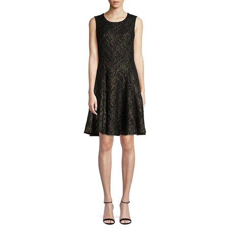 Lace Sleeveless Fit-&-Flare Dress
