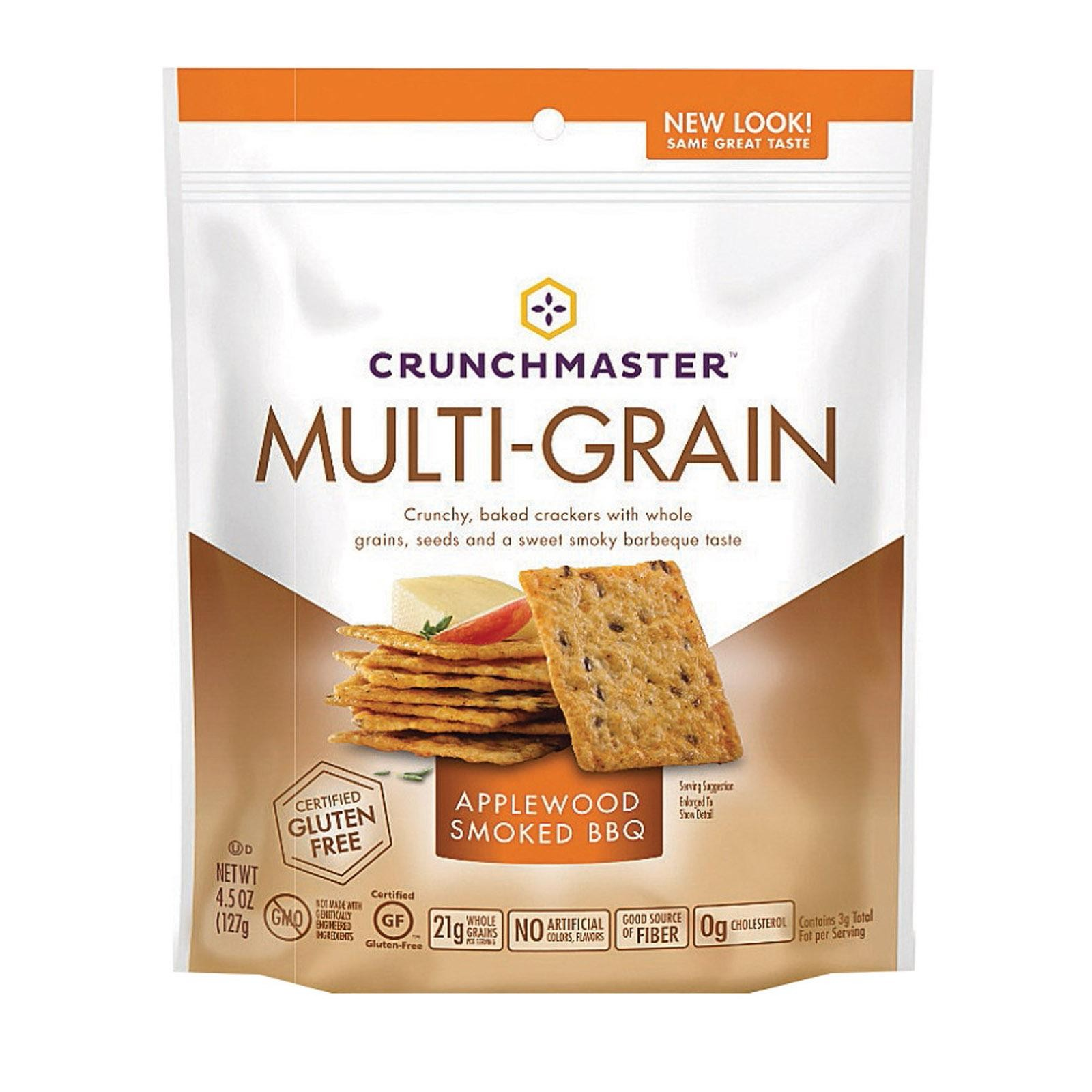 Crunchmaster Multi-grain Crackers - Applewood Smoked Bbq - pack of 12 - 4.5 Oz