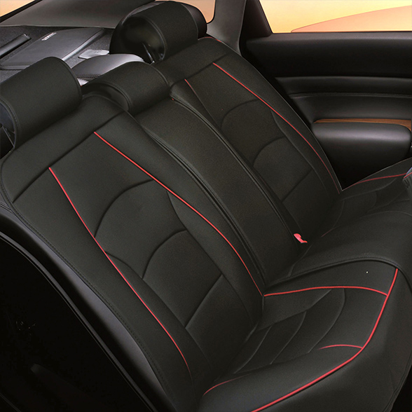FH Group Ultra Leatherette Rear Bench Seat Cushions, Black with Red Trim