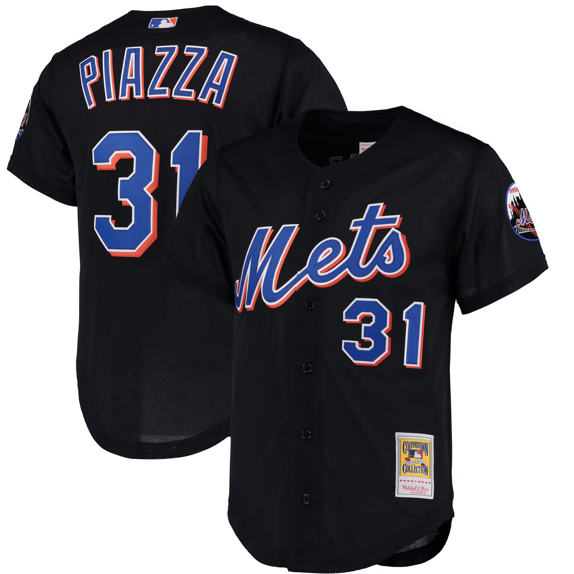 Mike Piazza New York Mets Mitchell & Ness Cooperstown Collection Mesh Batting Practice Jersey - Black
