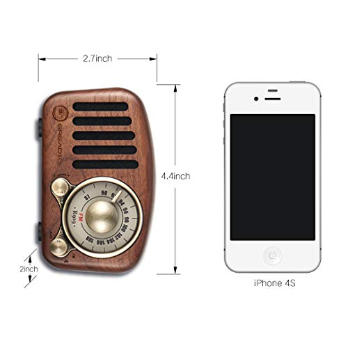 Bluetooth 4.2 Wireless Connection Loud Volume Vintage Radio Retro Bluetooth Speaker- Greadio Walnut Wooden FM Radio with Old Fashioned Classic Style TF Card /& MP3 Player Strong Bass Enhancement