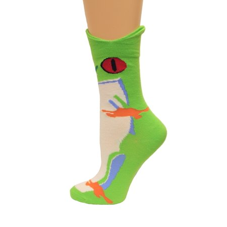 K. Bell Wide Mouth Rainforest Frog Crew Socks, Green, Sock Size 9-11/Shoe Size 4-10, 1 Pair