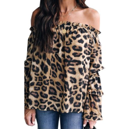 New Women Off Shoulder Leopard print Tops Ladies Puff Sleeve Loose Blouse Size S