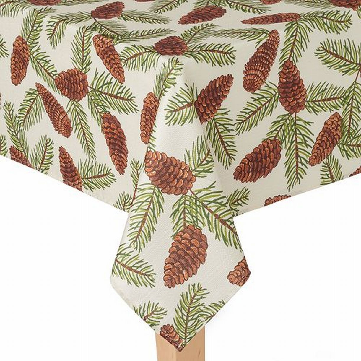 St Nicholas Square Woven Pine Cone Print Tablecloth Fabric Table Cloth 60x144 Ob