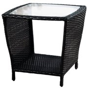 Jackson Outdoor Black Wicker Side Table with glass top