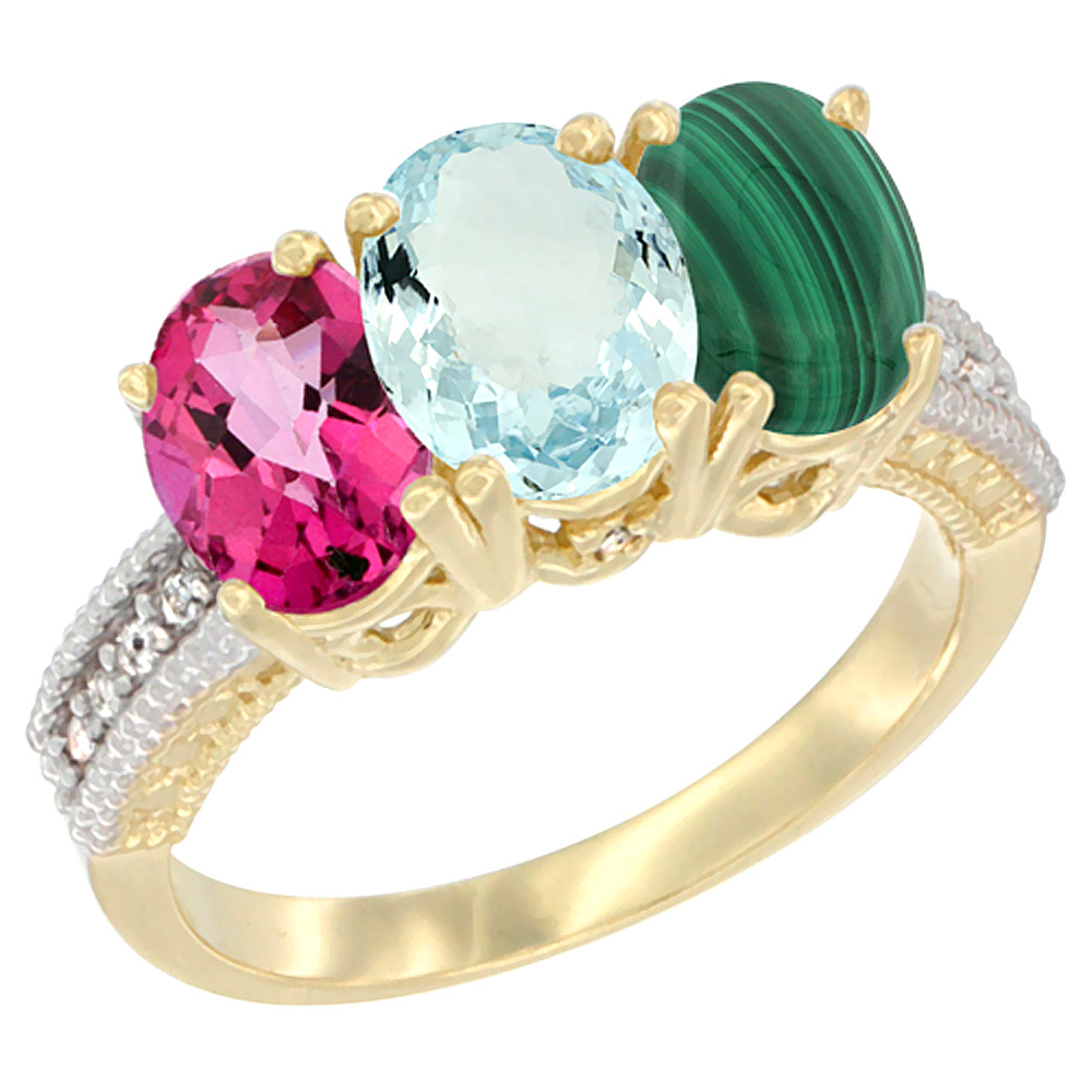 14K Yellow Gold Natural Pink Topaz, Aquamarine & Malachite Ring 3-Stone 7x5 mm Oval Diamond Accent, sizes 5 10 by WorldJewels