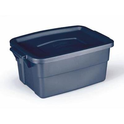 Rubbermaid Dark Indigo Metallic Roughneck Storage Box, 3 Gallon, 2Pack