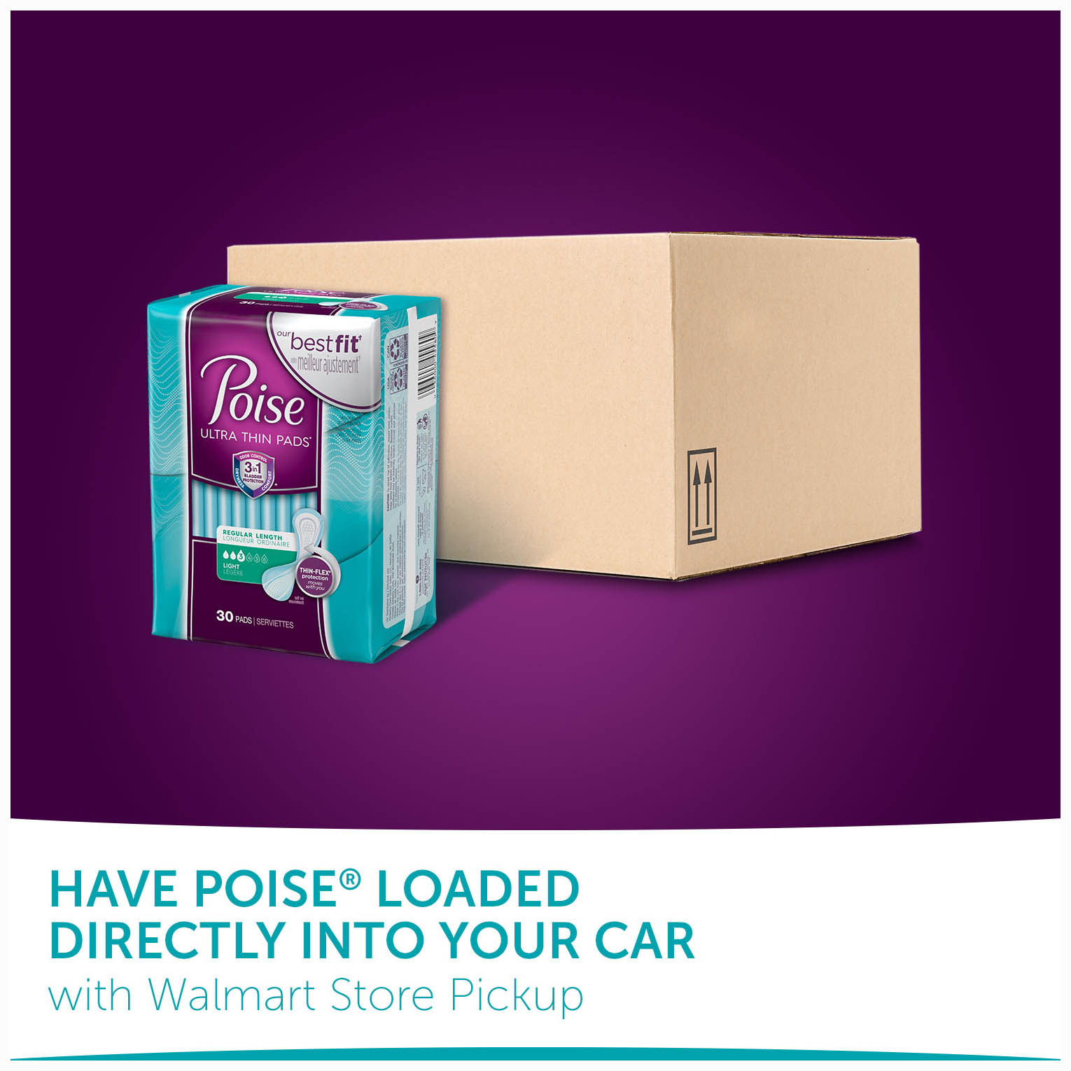 Poise Ultra Thin Incontinence Pads for Women Light Absorbency