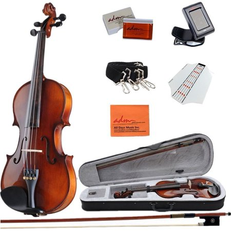 ADM 4/4 Full Size Handmade Wooden Acoustic Violin Outfit with Hard Case, Beginner Pack for