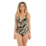 Womens Miraclesuit Swimwear Slimming One Piece Swimsuit Black Gray Brown Print