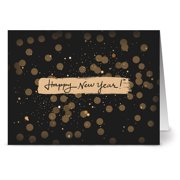24 Note Cards - Glitzy New Year - Blank Cards - Ivory Envelopes Included