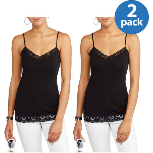 No Boundaries Juniors' Lace Trim Cami 2 Pack with Adjustable Straps