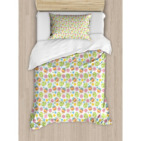 Easter Twin Size Duvet Cover Set, Patchwork Style Graphic Scrapbook Pattern with Daisy Sewing Buttons and Egg Figures, Decorative 2 Piece Bedding Set with 1 Pillow Sham, Multicolor, by