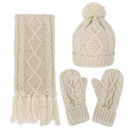 Womens Winter Warm 3Pc Beige Cable Knit Gloves Scarf Beanie Hat Set