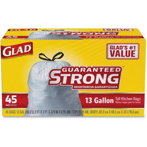 "Glad Strong 13-gal Tall Kitchen Trash Bags - 13 gal - 27"" Width x 24"" Length x 1 mil (25 Micron) Thickness - White - 45/"