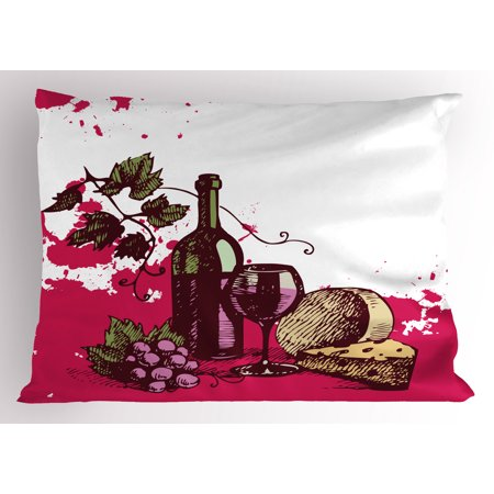 Wine Pillow Sham Vintage Sketchy Artwork Cheese Alcoholic Drink Fruit Abstract Design, Decorative Standard Size Printed Pillowcase, 26 X 20 Inches, Hot Pink Olive Green Cream, by Ambesonne - Glow In The Dark Alcoholic Drinks