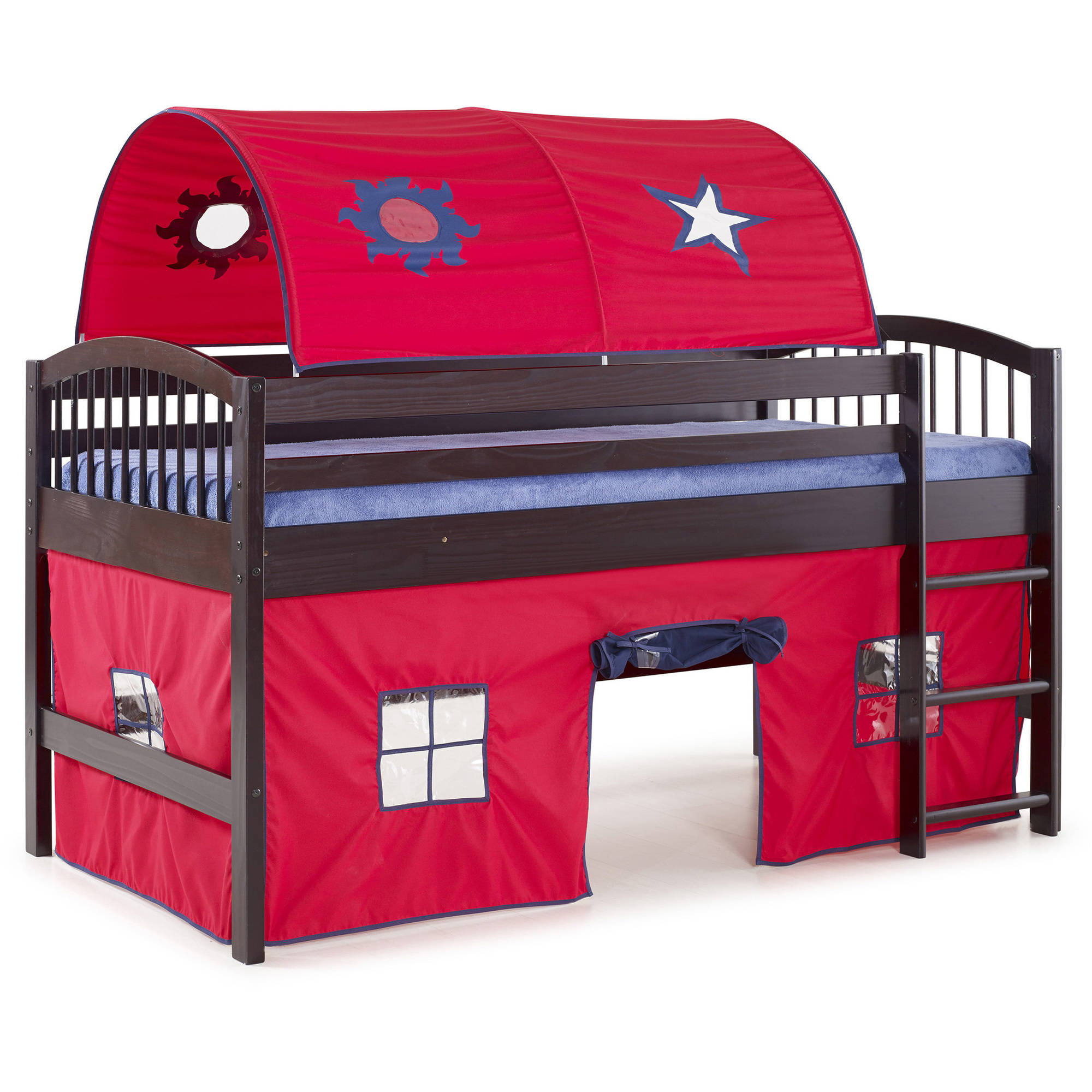 Addison Espresso Finish Junior Loft Bed, Red Tent and Playhouse with Blue Trim by Alaterre