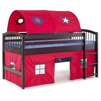 Addison Espresso Finish Junior Loft Bed, Red Tent and Playhouse with Blue Trim