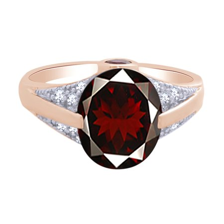 Oval Cut Simulated Garnet & White Cubic Zirconia Solitaire Engagement Ring in 14k Rose Gold Over Sterling Silver Ring Size : 8