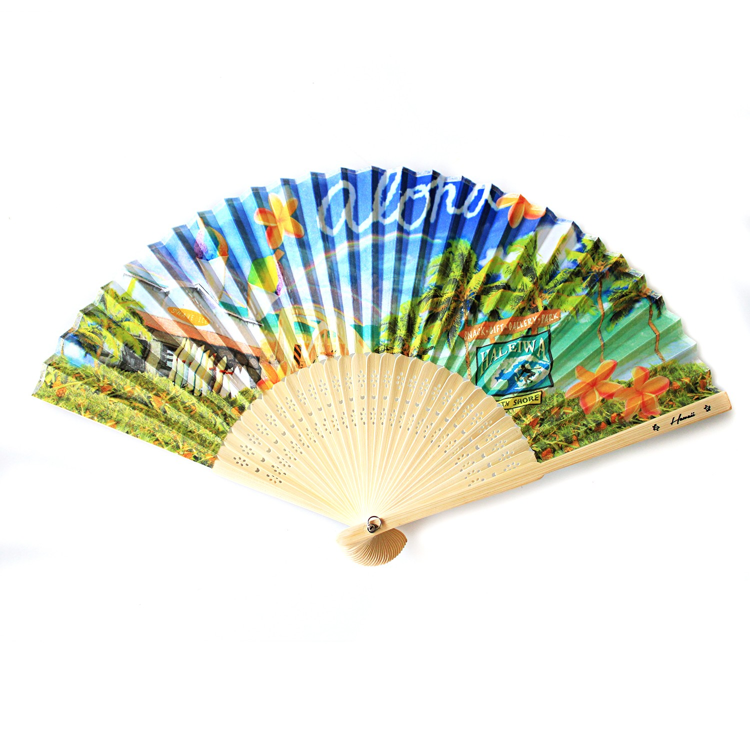 Hawaii Luau Party Favors Wedding Fabric & Wood Folding Hand Fan in Haleiwa