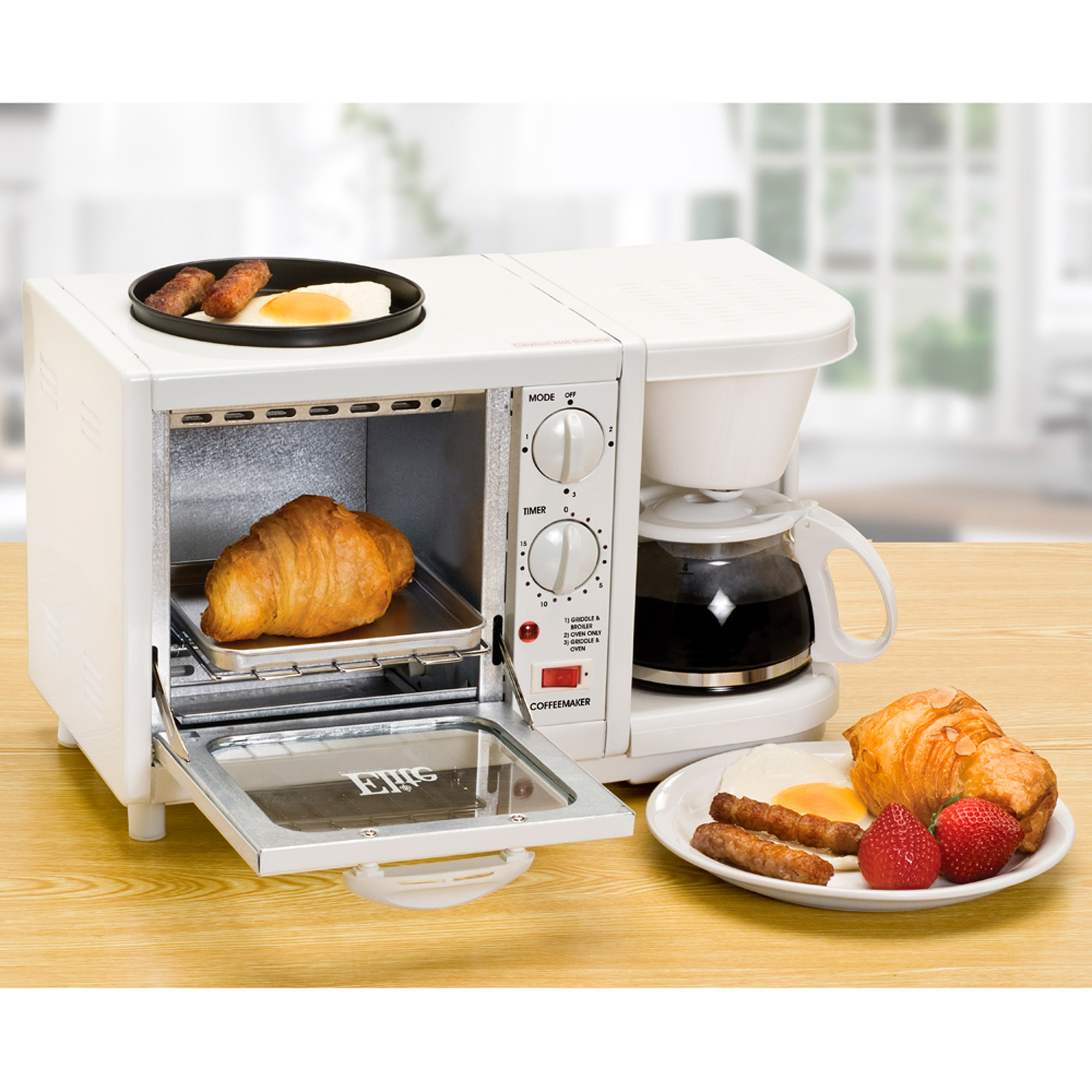 Uncategorized 3 In 1 Kitchen Appliances elite cuisine ebk 200 3 in 1 breakfast center coffee toaster oven griddle white walmart com