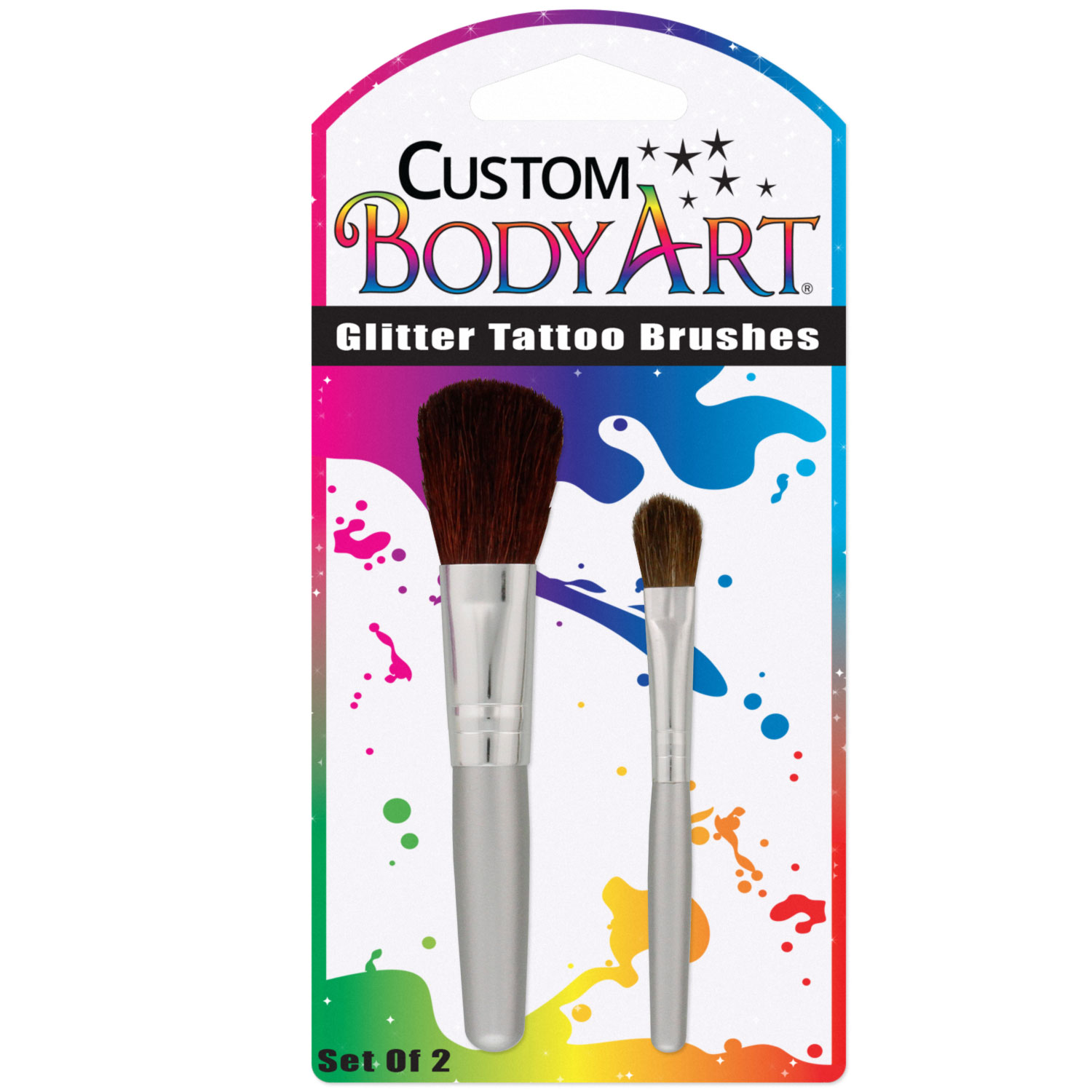 Custom Body Art - Set of 2 Glitter Tattoo Brushes Stencils
