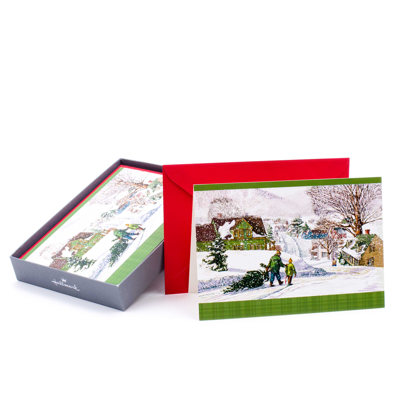 Hallmark Thomas Kinkade Christmas Boxed Cards, Bringing Home the Tree (16 Cards and 17 Envelopes)