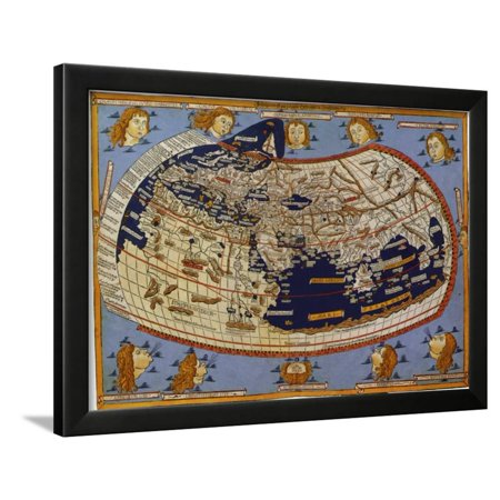 Old Map of the World Ptolemaic World, 1482 Framed Print Wall (Map Framed Print)