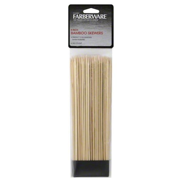 4-Inch 300 Count Farberware BBQ Natural Wood Skewers