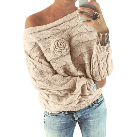 WLLW Women Off Shoulder Long Sleeve Floral Pullover Sweater